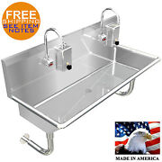 Hand Sink, Electronic Faucet 42 2 Person Hands Free Stainless Steel Industrial