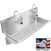 Wash Up Hand Sink Multistation 42 2 Users Electonic Faucets Stainless Steel