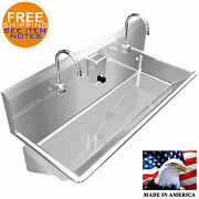 Wash Up Hand Sink Multistation 2 Users 42 Elec. Faucet Lavatory Stainless Steel