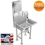 Paper Towel And Soap Dispenser W/ Knee Valve Hand Washing Sink 24 Stainless Steel