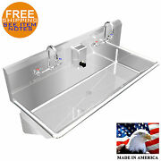 Multistation Wash Up Hand Sink 2 Users 48 Wall Mount