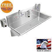 Hand Sink Industrial 2 Person 40 Multistation 304 Stainless Steel Made In Usa