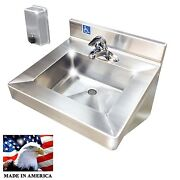Ada Hand Sink+single Control Faucet+40oz Wall Soap Dispenser Stainless Steel 304
