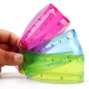 Hot Colorful Translucent Acrylic Plastic Bendable Rulers Student Office Supplies