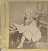 Stereoview Of Young Girl At Reading Desk W/ Books - Salem, Mass