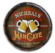 Man Cave Personalized Quarter Barrel Wood Sign Man Cave Bar Office Pub