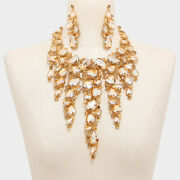Luxe Gold Champagne Crystal Couture Glam Cocktail Necklace Set Rocks Boutique