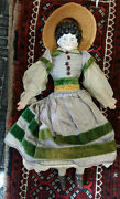Early 17 China Head Doll With Hoop Skirt Leather Shoes Lace Pantaloons