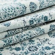 10 Metres Of White Blue Medallion Soft Woven Chenille Interior Upholstery Fabric