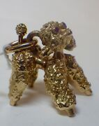 Vintage 9k Yellow Gold French Poodle Pendant/charm Ruby Eyes 14.88 Grams