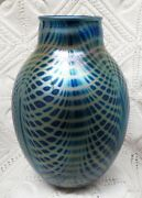 Charles Lotton Signed Iridescent Peacock Pulled Feather Vase Circa 1984
