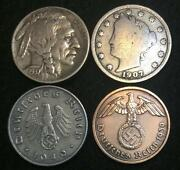 Antique V And Buffalo Nickel And Rare Ww2 German Coins - Historical Artifacts