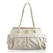 Soft Lambskin Beige Shoulder Bag Tote With Pleats No. 15 In Box