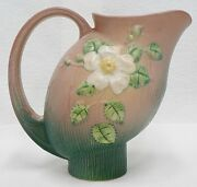 Roseville Pottery Pink Pitcher With White Flower 1324