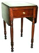 Nightstand, Lamp Table, Sheraton, Solid Cherry, Drawer, Dropleaf, 29t, C1820