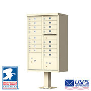 16 Door Outdoor Locking Commercial Cluster Mailbox With Pedestal - Usps Access