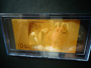 24 Kt Gold 10 Euro Andeuro-european Union Money 2002 -gift Bill Comes In Acylic Holder