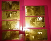24 Karat Gold 2002 Euro- Lot Of 7 -european Union Andeuro Notes-in Rigid Pvc Holder