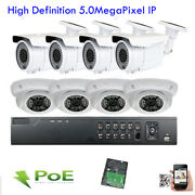8ch H.265 Nvr 2592p 5mp Poe Ip Ip66 Onvif In/outdoor Osd Security Camera System