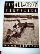 1937 Allis-chalmers Mfg. Co. Information Booklet Of Tractors And Farm Machines