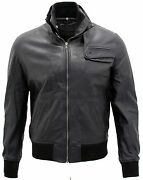 Menandrsquos Casual Black Leather Biker Jacket With Inner Funnel Neck Collar