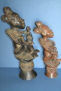 Two Large Mid 20th Century African Tikar Tribal Bronze Maternity Statues C1950