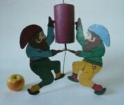 Rare Antique Candleholder Christmas Tree Stand 3 Gnomes Andnbsp