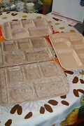 4 Vintage 15 Prolon Lunch Cafeteria Trays Tan Pink Brown Blue Speckled Confetti