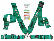 Takata Race 4 Point Snap-on 3 Racing Seat Belt Harness With Camlock Green