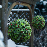 Best Artificial Christmas Holly Ball Topiary Grass Flower Xmas Hanging New Party