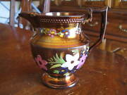 STATELY STAFFORDSHIRE COPPER LUSTER CREAMER or PITCHER with ENAMELED DECORATION