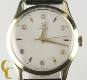Omega Andomega Vtg Menand039s 14k Yellow Gold Hand-winding Watch Leather Band Menand039s Gift