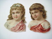 Vintage Victorian Die Cut Scraps Of Two Beautiful Young Girls