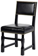 Set Of Two Christian 19 W Dining Chair Distressed Black Birch Wood Hand Made