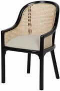 Set Of Two 23 Occasional Chair Solid Mahogany Frame Black Light Linen And Caning