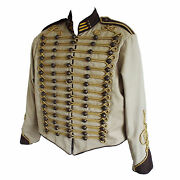 Steampunk Military Jacket By Sdl In Beige + Brown Trim And Gold Braid Decoration