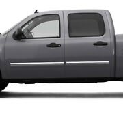 Side Molding Trim For 07-14 Gmc Sierra Hd Crew Cab Stainless 4pc Upper Accent