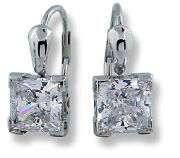 Womanand039s Drop Earrings 14k White Gold Princess Cut 2.5 Ctw Czand039s