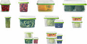 Rubbermaid Freshworks Produce Saver Food Storage Containers, Green, 3 Sizes