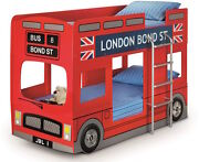 Red London Bond Street Bus Bunk Bed, With Mattress Option Child's Bus Bed