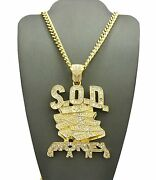 Rapper's Iced Sod Money Gang Pendant And 6mm/ 36 Cuban Chain Hip Hop Necklace