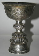 Chalice. Solid Silver. Tibet Or China. Hand Chiseled. Early 20th Century.