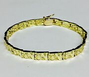 18k Solid Yellow Gold Menand039s Handmade Nugget Bracelet 6 Mm 22 Grams 8 Inch