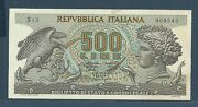 Italy 500 Lire 1966 / 1967 P 93a Unc With Dirt On Upside