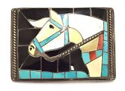 Old Pawn Beautiful Zuni Sterling Silver Multi Color/stone Horse Inlay Buckle