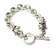 Nwt 100 Auth Thirteen Designs 925 Silver Middle Mad Two Skull Bracelet Japan