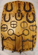 Collection Of Antique Hammered Iron, Horseshoes, Buckles And Horse Bits