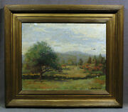 19th Century Impressionist Landscape Oil Painting Signed Charlette Brewster