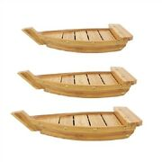 Bamboomn Bamboo Wood Sushi Boat Serving Display Tray Carbonized Brown