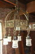Stately Heavy Brass Or Bronze Chandelier With Glass Shades